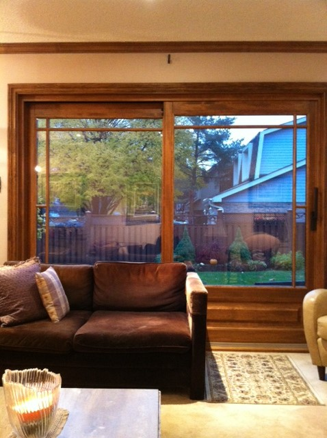 Large wood living room window