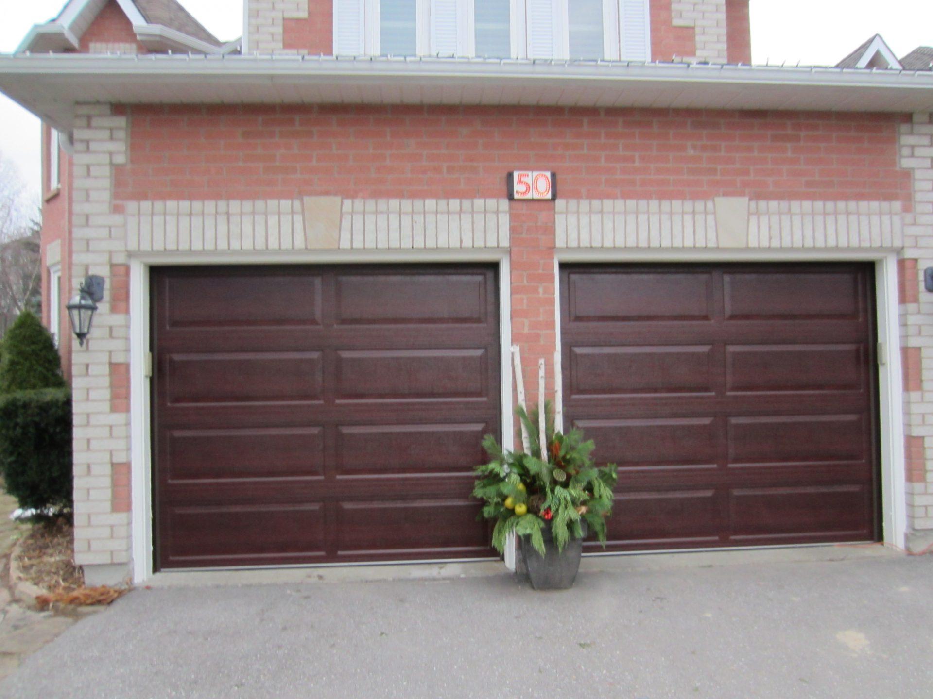 Brown double garage doors