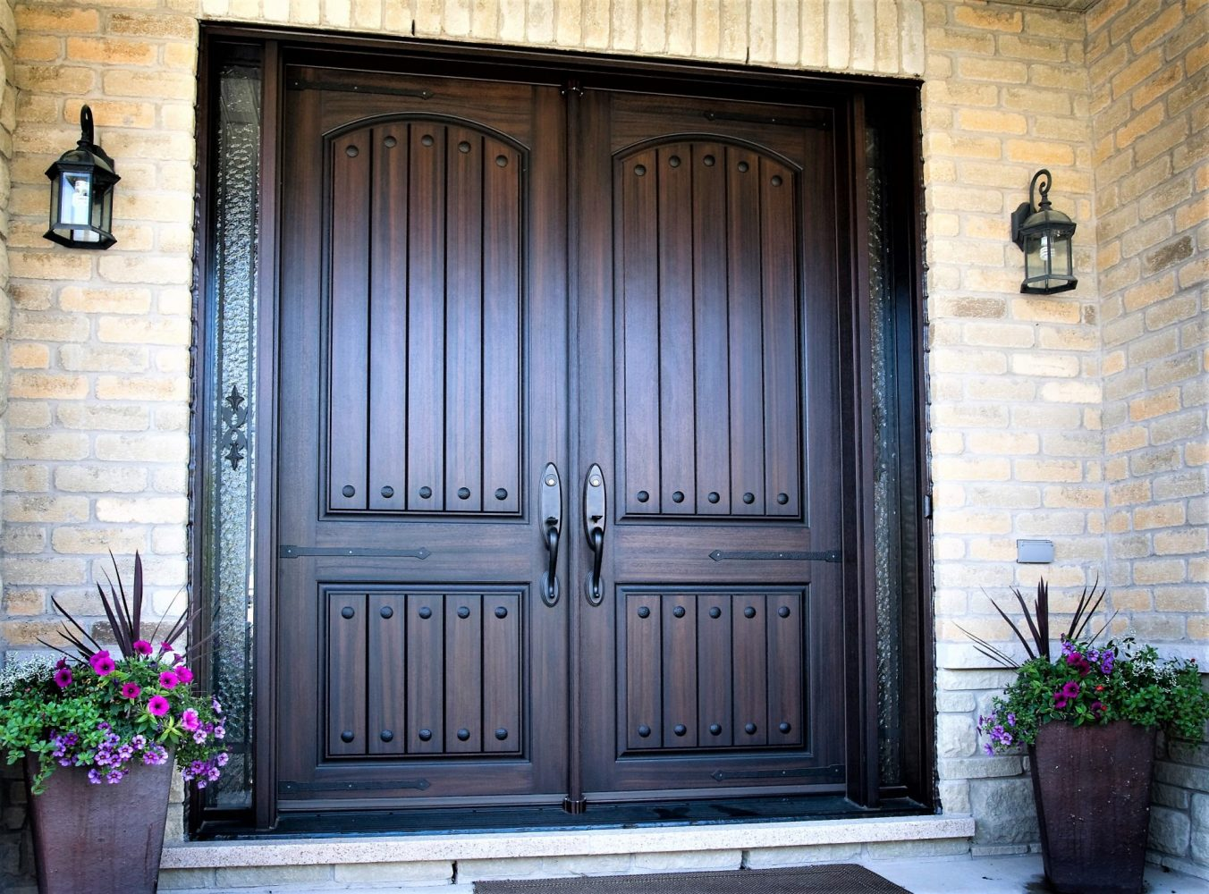 double 8 foot fiberglass door system rustic style