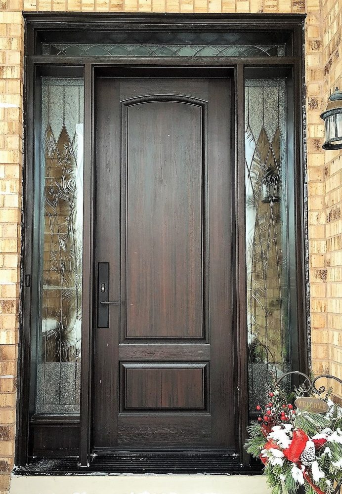 fiberglass door syetem 8 foot with 2 sidelights and transom dark walnut stain with gloria glass
