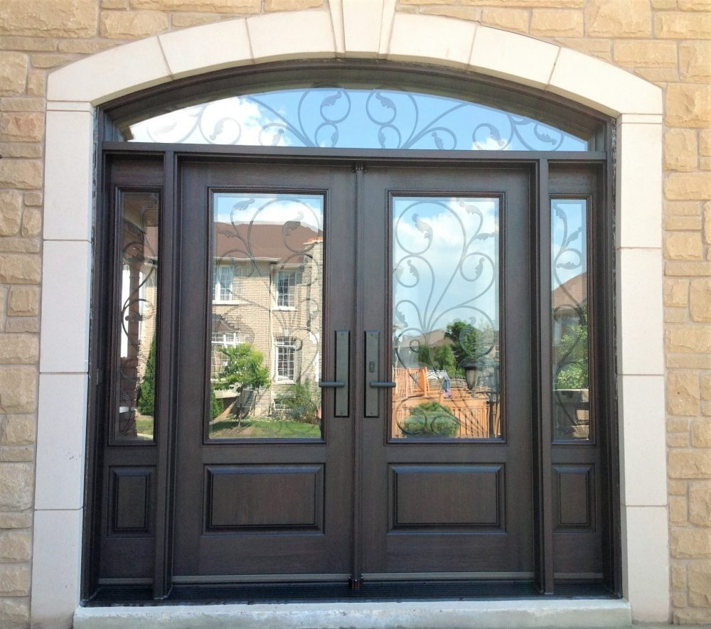 Fibergl Door System Double Doors With 2 Sidelights Arched Transom