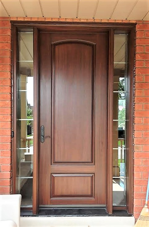 fiberglass door system 8 foot door with rustic cherry stain and 2 clear sidelights