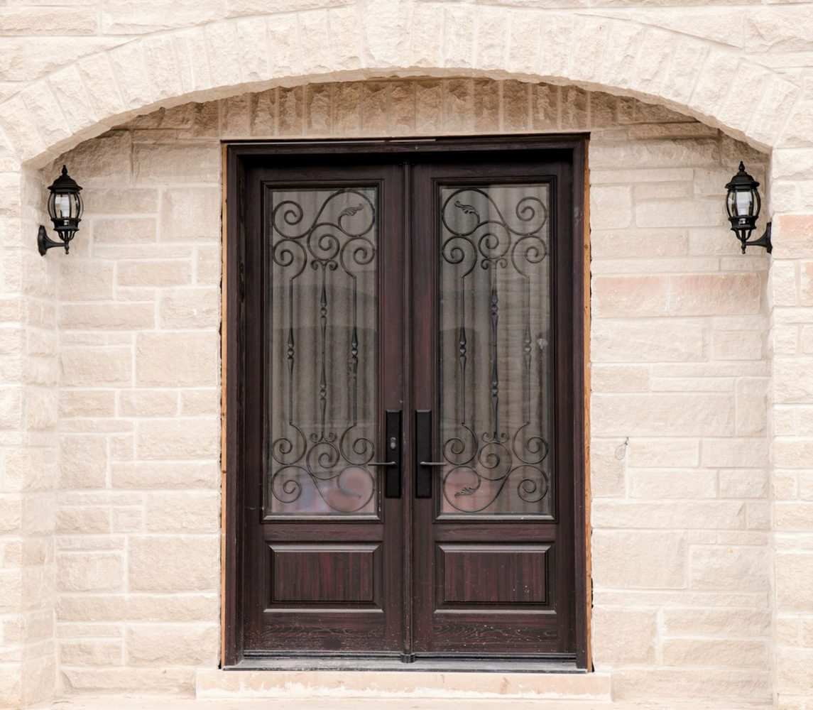 fiberglass door system 8 foot double doors with royalton wrought iron
