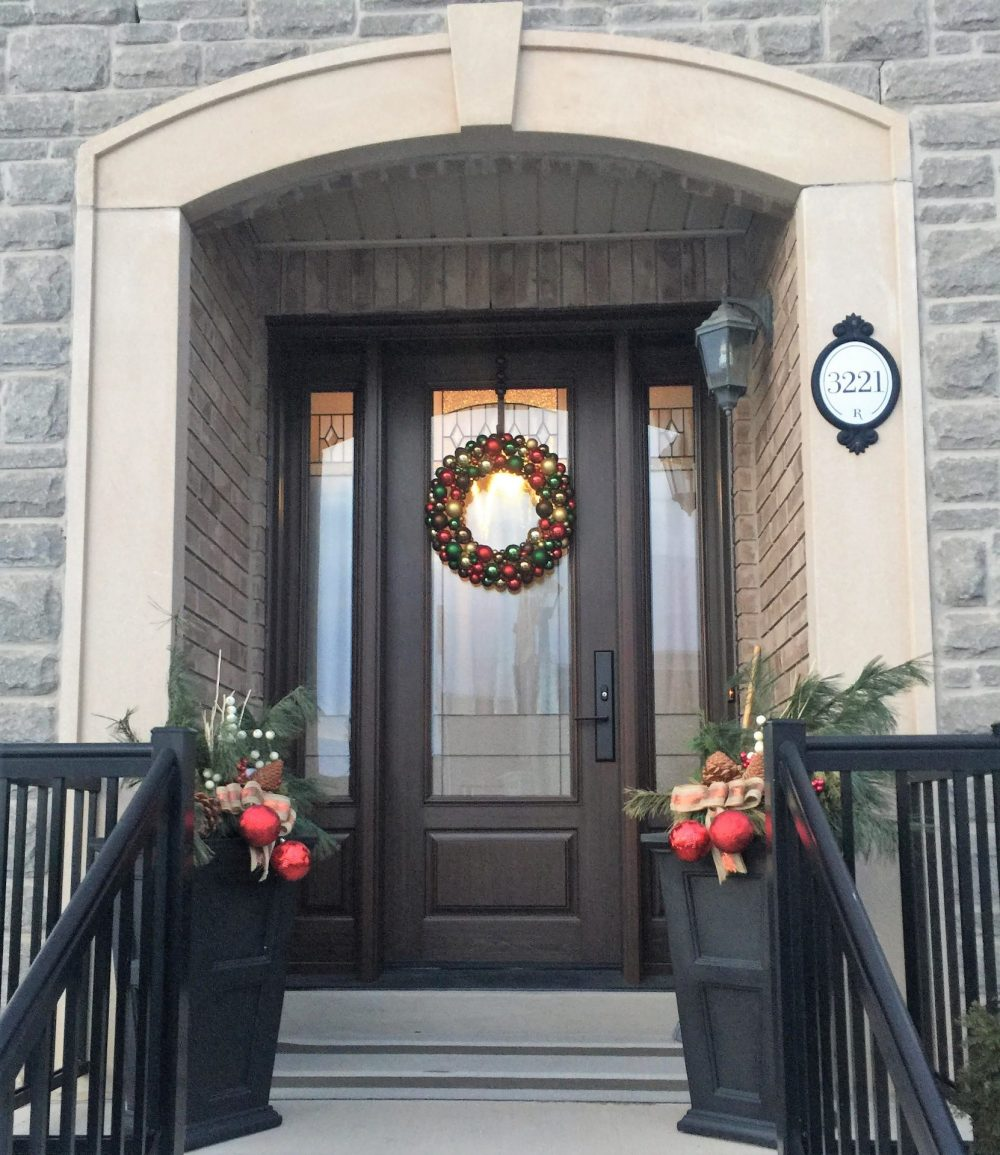 fiberglass door system 8 foot wth 2 sidelights dark walnut stain and liano glass