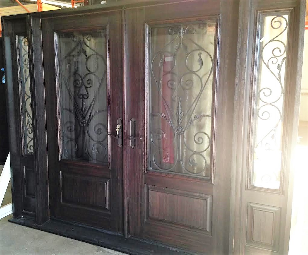 fiberglass door system double doors with 2 sidelights dark mahogany stain and custom wrought iron glass