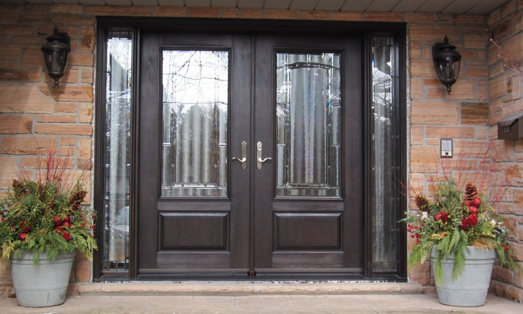 fiberglass door system double doors with 2 sidelights dark walnut stain and element glass