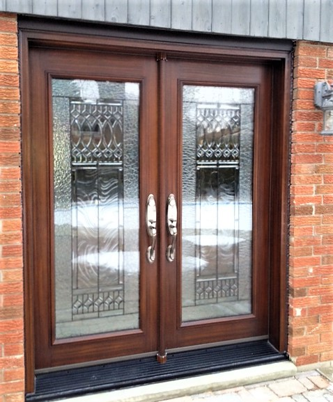 fiberglass door system double doors with rustic cherry stain and full paris glass