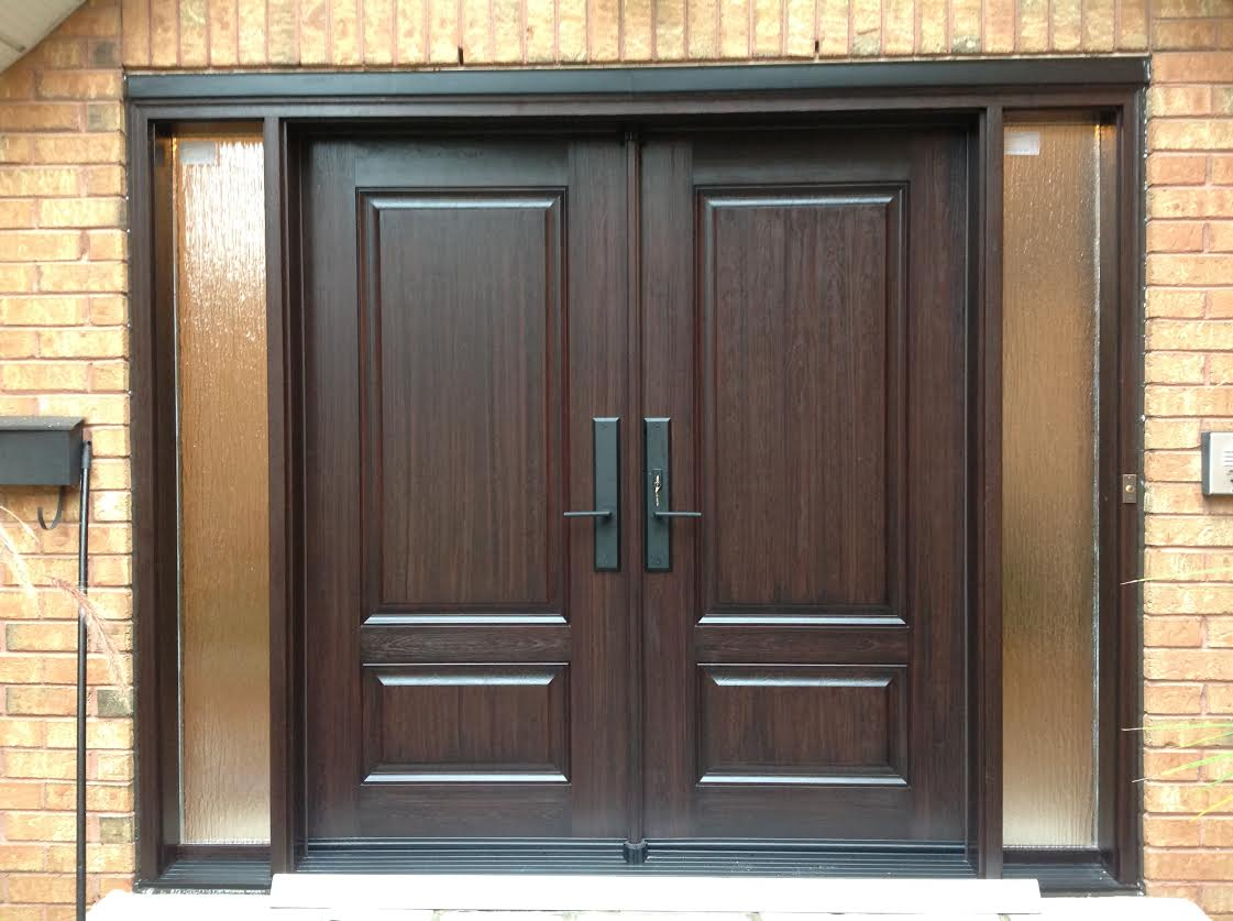fiberglass door system modern double door style with rain sidelights