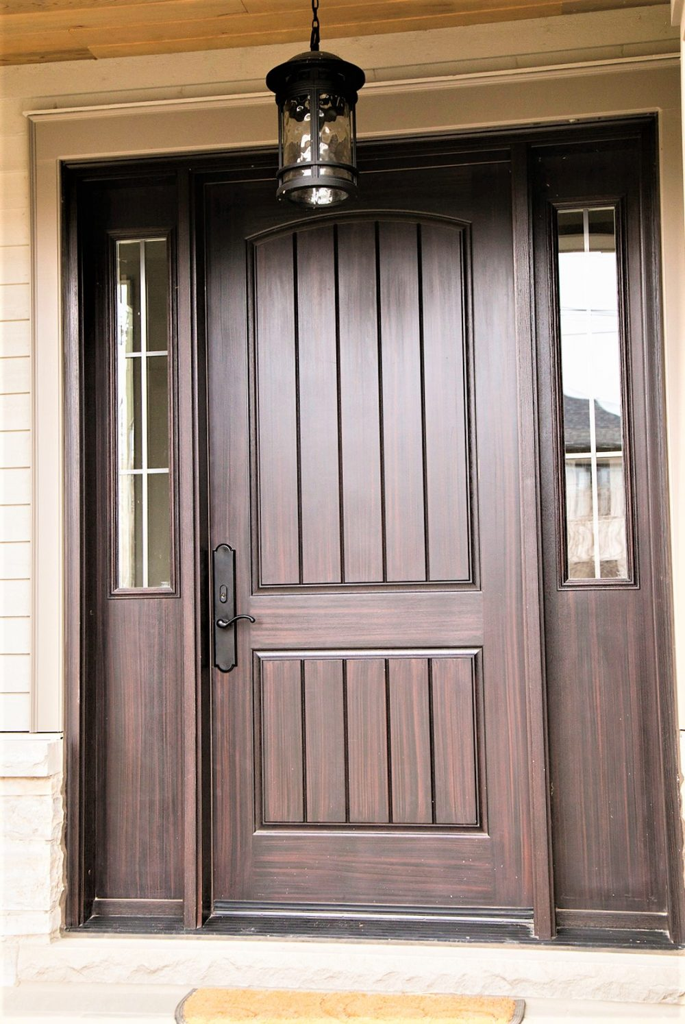 fiberglass door system plank style with custom sidelights