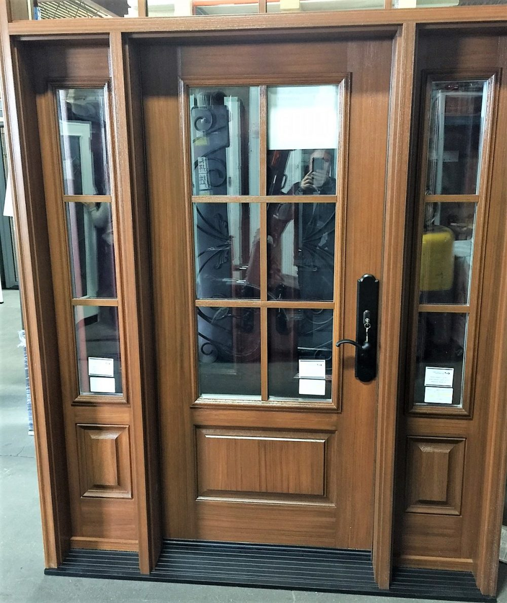 fiberglass door system rustic cherry stain with clear glass and sdl grills