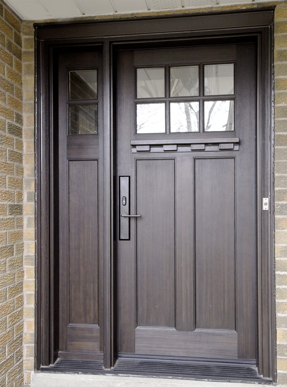 fiberglass door system with clear glass