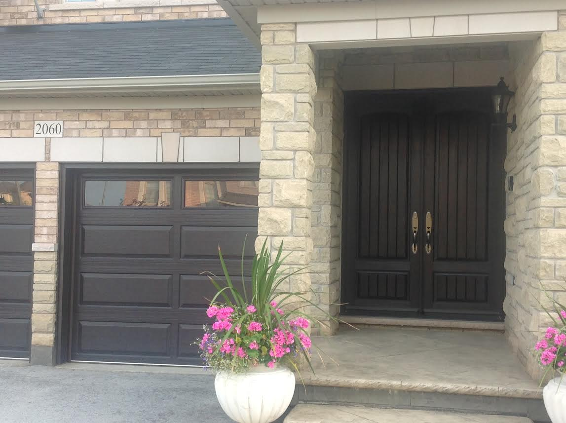 Dark brown double garage doors