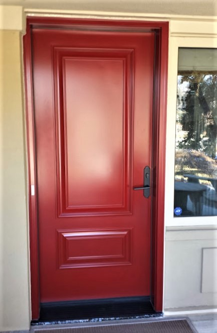 single steel door system t240 red with executive panels