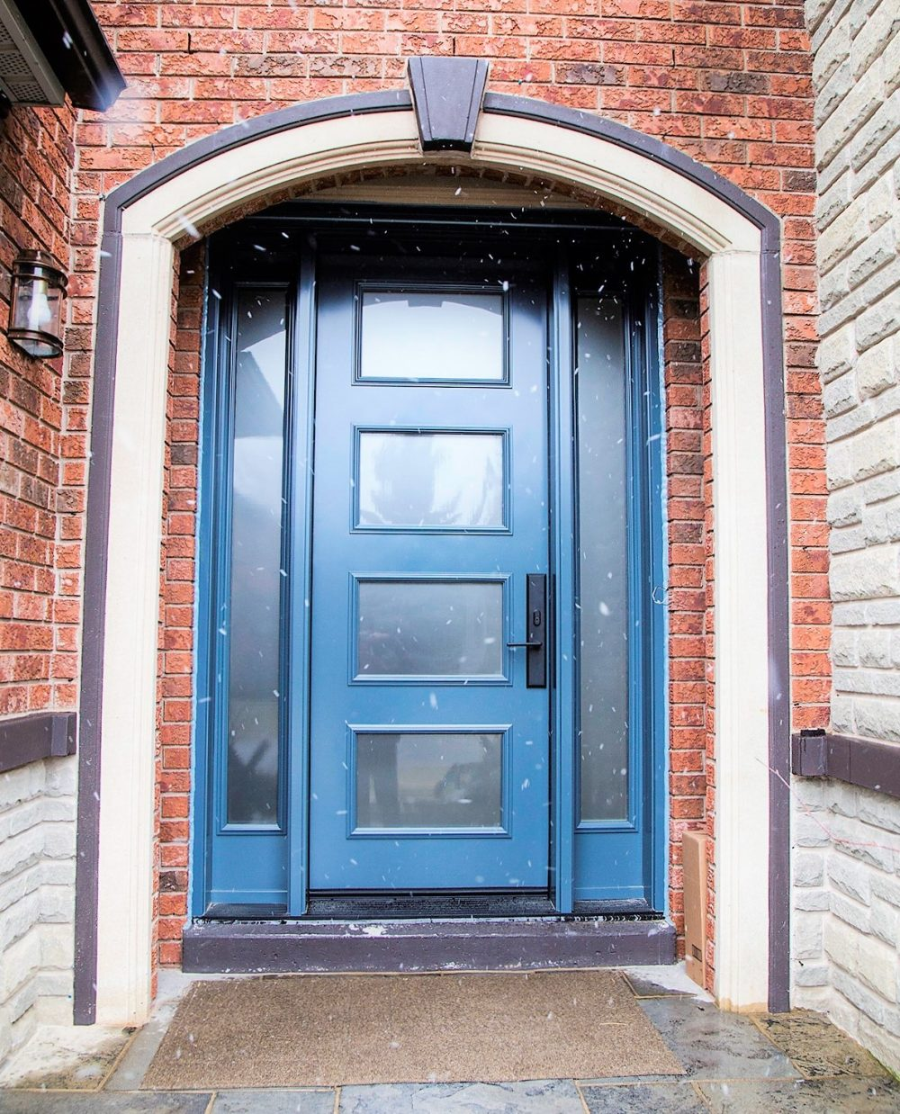 steel door system 8 foot contemporary style in custom colour with privacy glass