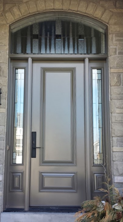 steel door system 8 foot with arched transom executive panels and artisan glass