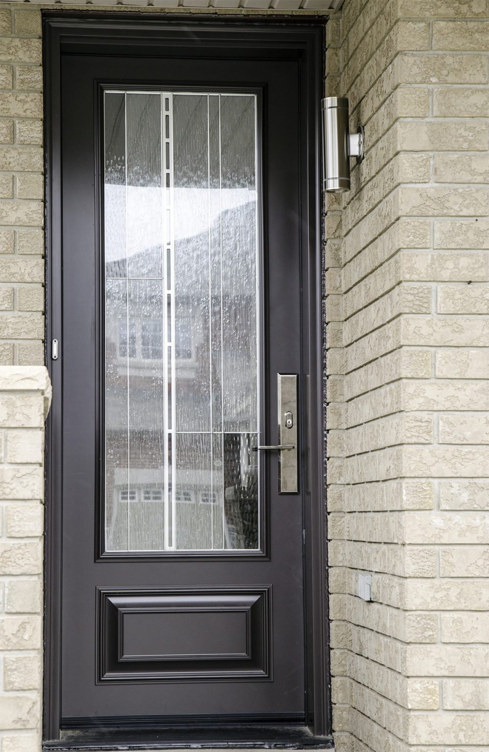 steel door system 8 foot with custom grey colour and barcello glass