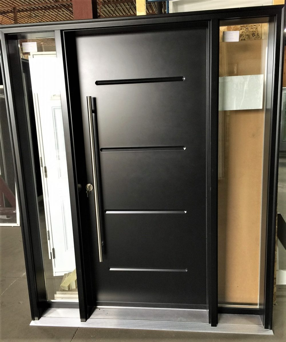 steel door system black contemporary style door with clear sidelights and pull bar