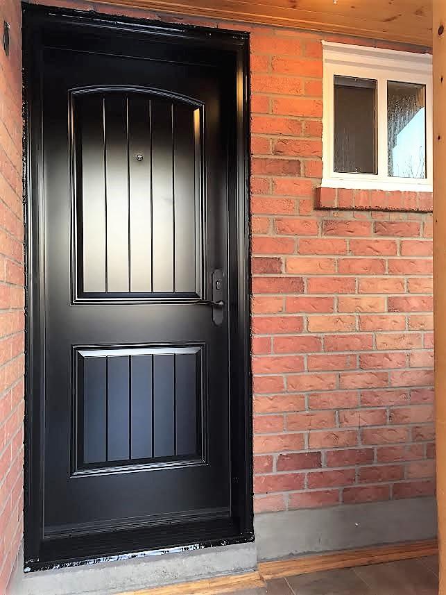 steel door system black rustic plank style