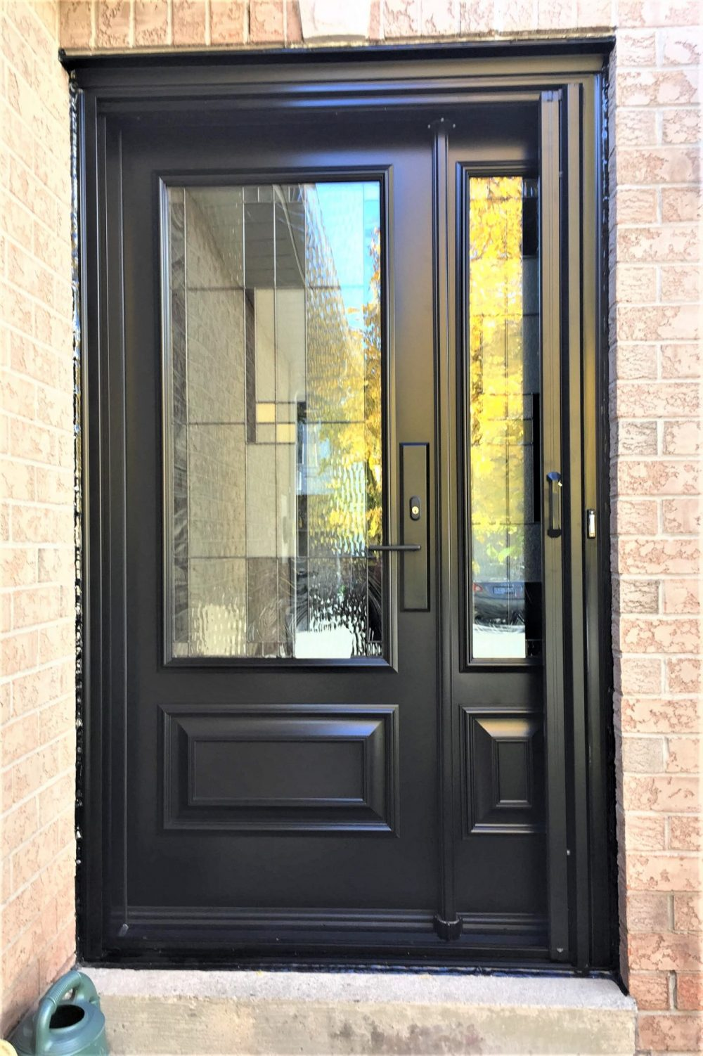 steel door system black with kalima glass hinged sidelight and retactable screen