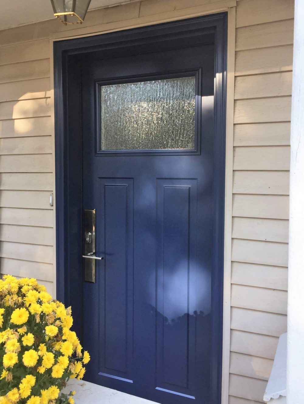 steel door system craftsman style with custom paint colour and rain glass