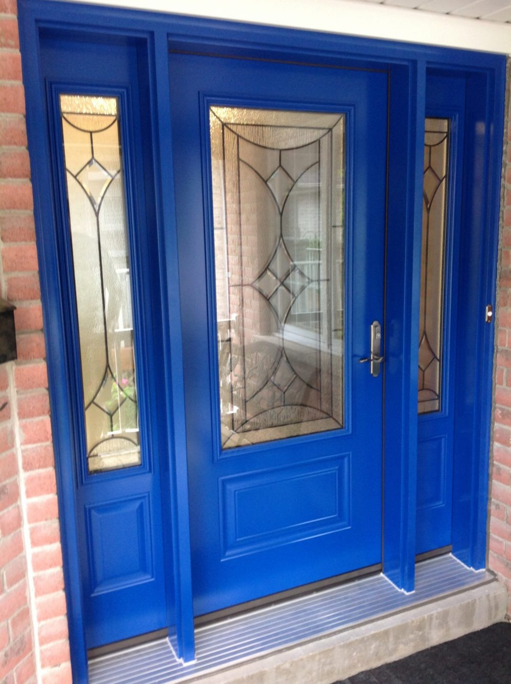 steel door system custom blue colour with reniore glass