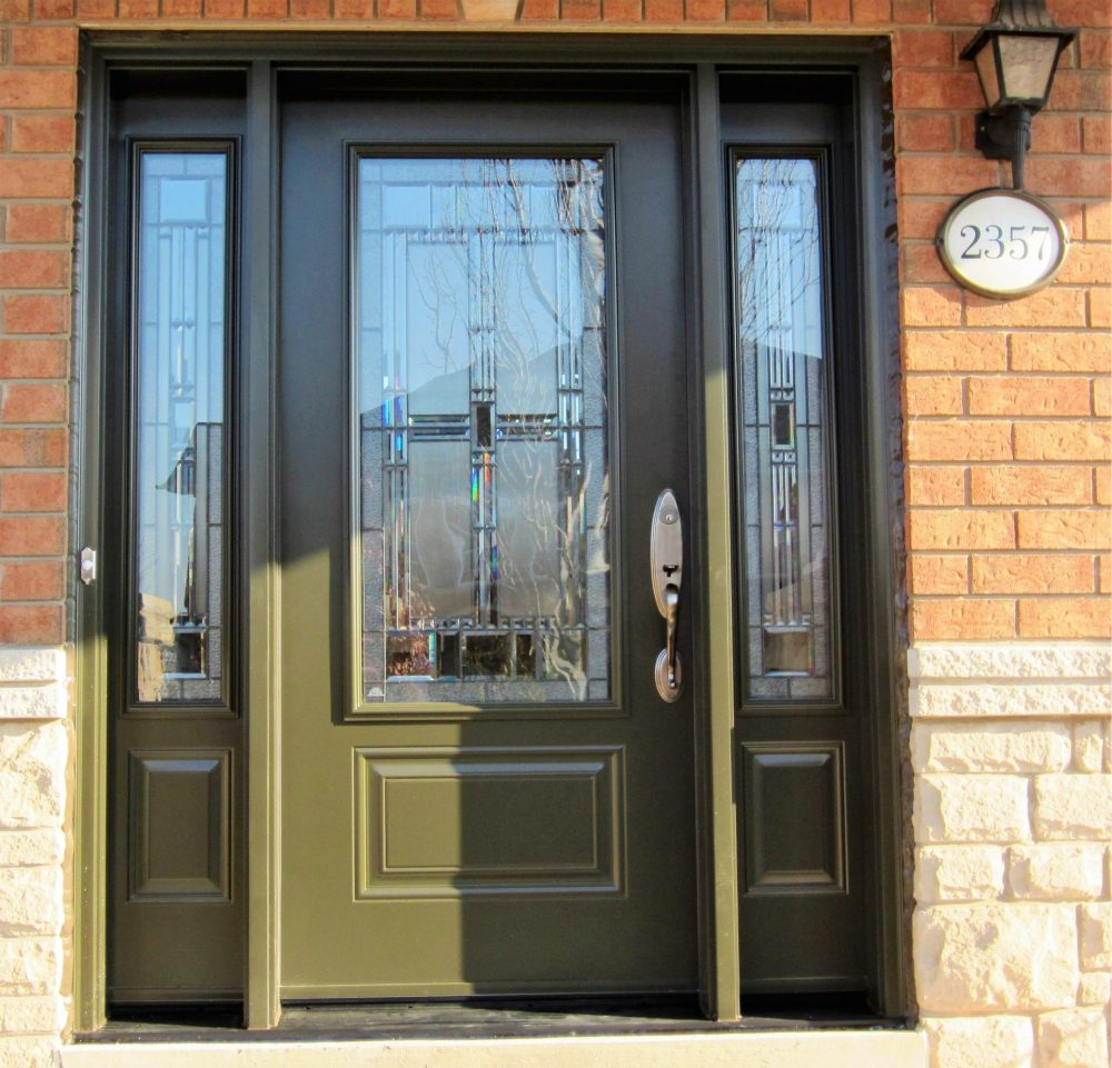 steel door system custom paint with artisan decorative glass