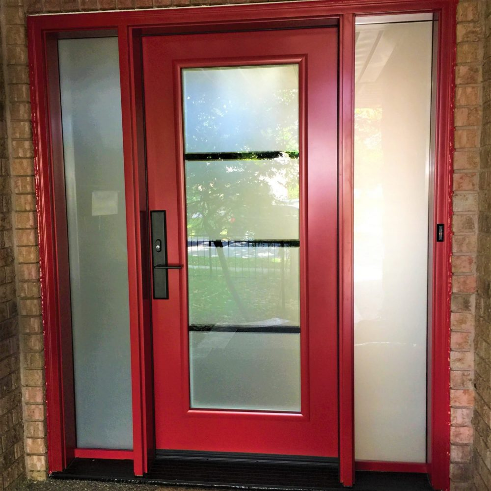 steel door system custom red with pure privacy glass