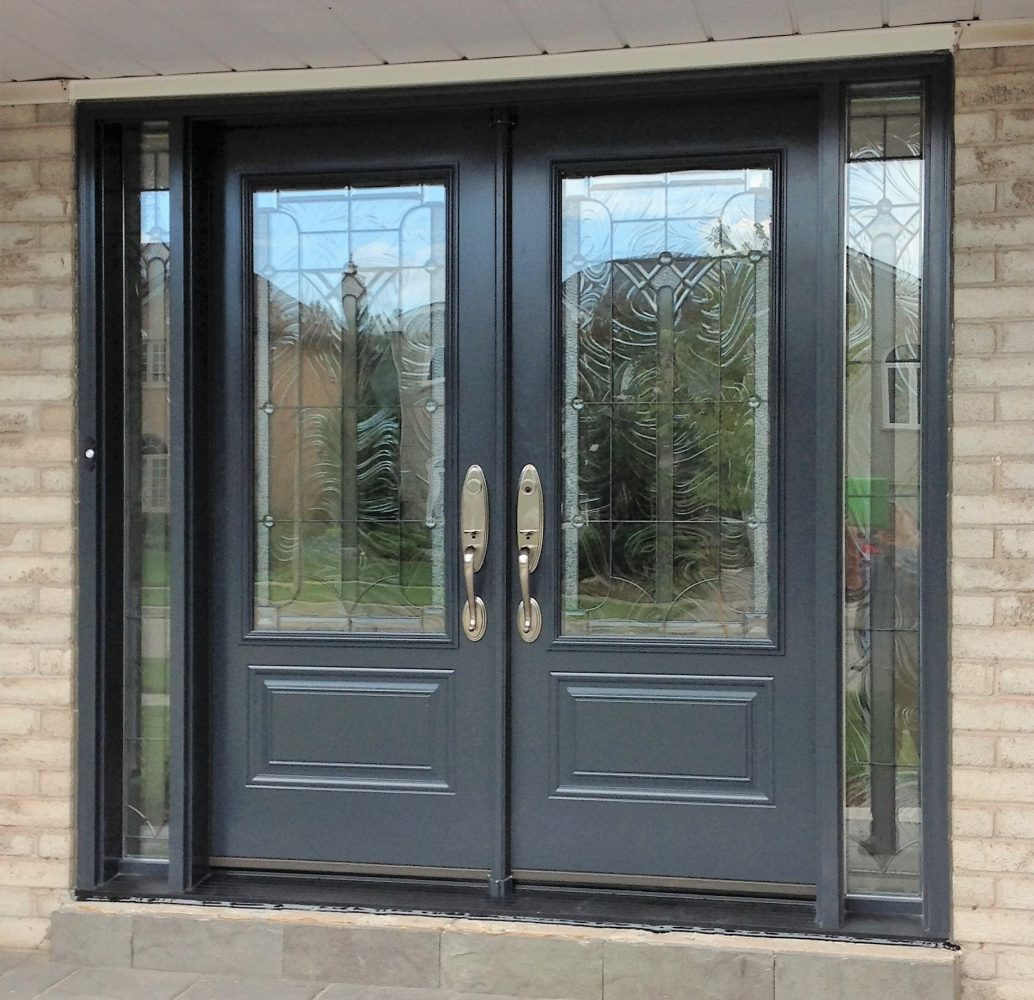 steel door system double doors with 2 sidelights in custom blue colour with waterton glass