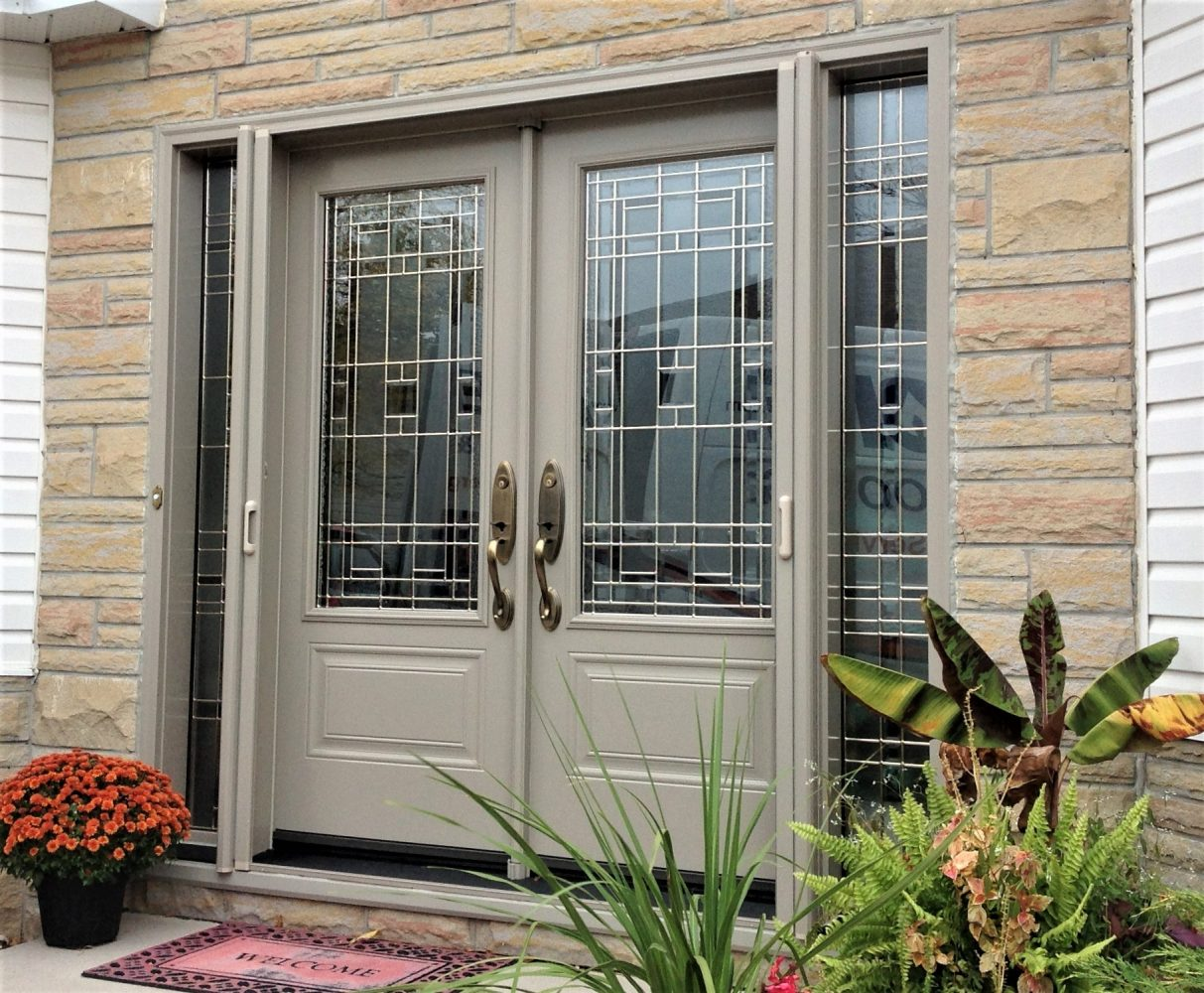 steel door system double doors with lexington glass and retractable screens