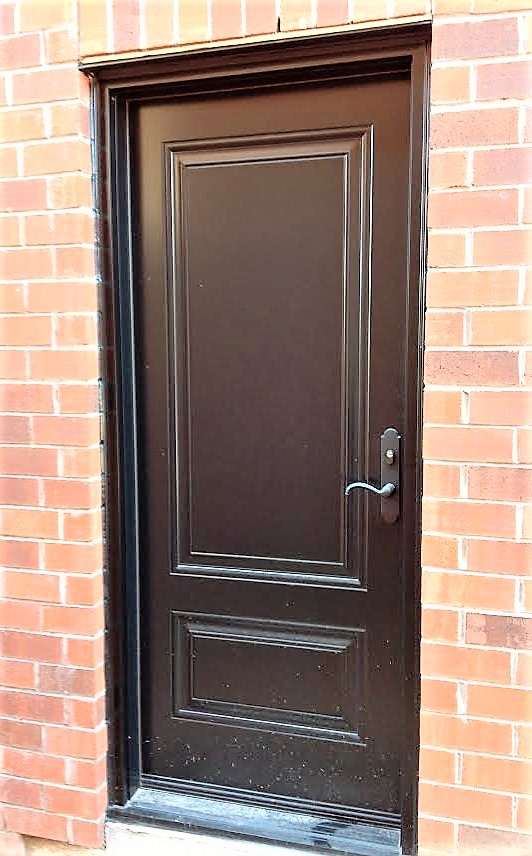steel door system side door painted black with embossed panels