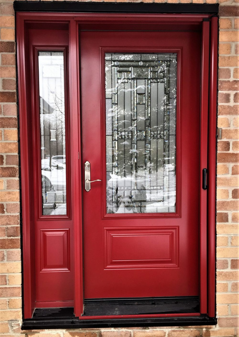steel door system t240 red with naples glass and retractable screen