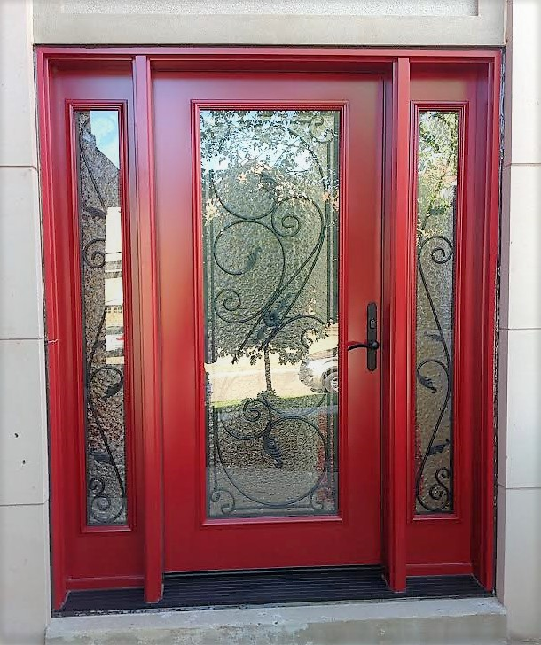 steel door system t240 red with serafina wrought iron