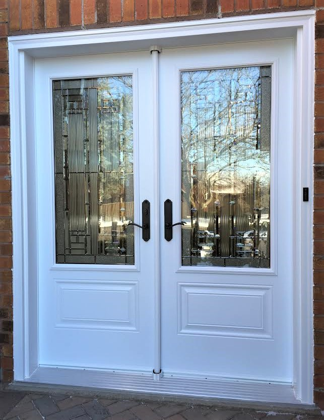 steel double door system white with naples glass