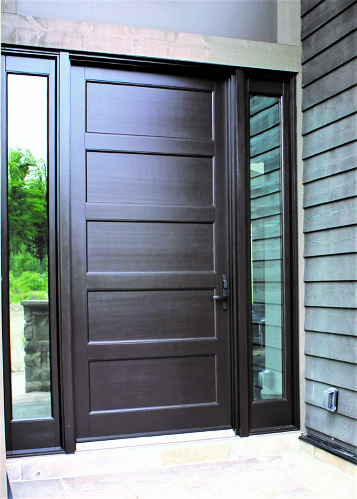 wood door system solid contemporary style with 2 clear sidelights