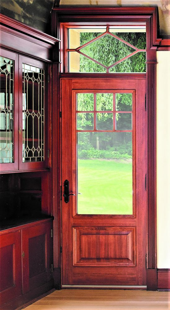 wooden door system with transom clear glass