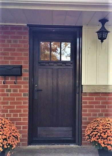 Fiberglass Craftsman Door With Clear Glass And Dental